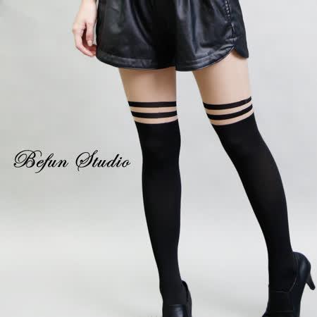 【 BeFun 內著專科 】 HYS 絲襪 6108 經典條紋假膝上襪 條紋 透膚絲襪 假膝上襪