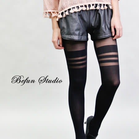 【 BeFun 內著專科 】 HYS 絲襪 6110 多層條紋假膝上襪 條紋 透膚絲襪 假膝上襪