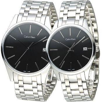CK cK TIME 極簡風藍寶石水晶鏡面對錶 -黑(K4N21141/K4N23141)