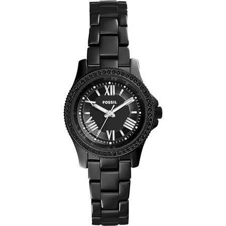 FOSSIL Cecile 羅馬晶鑽陶瓷女錶-黑/30mm CE1091