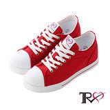 【TRS】增高7cm經典款休閒氣墊帆布鞋(7100-0011紅)