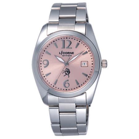LICORNE entree 午後時光日期腕錶-粉紅
