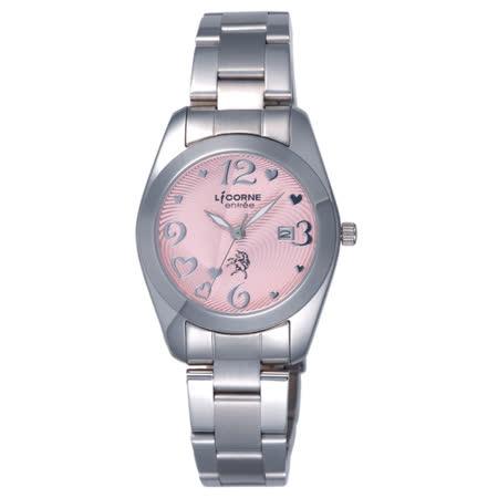 LICORNE entree  心的漣漪日期腕錶-粉紅