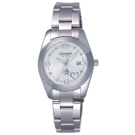 LICORNE entree  轉角遇到愛日期腕錶-白
