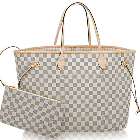 Louis Vuitton LV N41360 NEVERFULL GM 白棋盤格紋子母束口購物包.大_預購