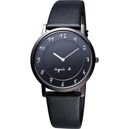 agnes b. 法國時尚簡約風情腕錶-黑 7N00-0BC0D(BG4002P1)
