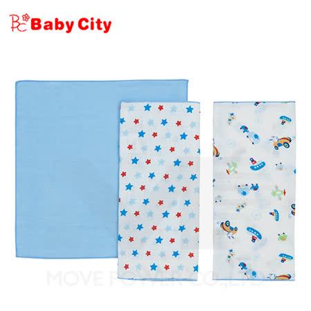 【娃娃城-Babycity】超柔紗布手帕-藍(三入)
