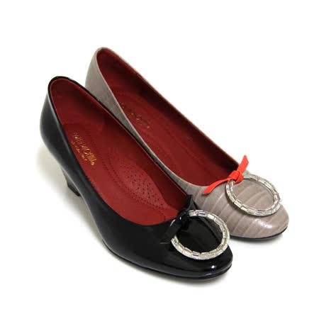 【GREEN PHOENIX 波兒德】BIS-VITAL時尚大方綁帶蝴蝶結壓克力圓形水鑽義大利進口小牛皮楔型包鞋