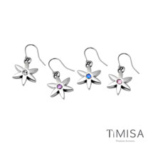【TiMISA】花漾年華-晶鑽版 純鈦耳勾一對(四色可選)