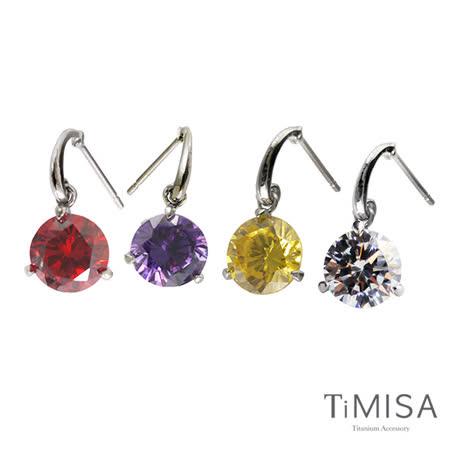 【TiMISA】花花妍朵朵 純鈦耳環一對(四色可選)