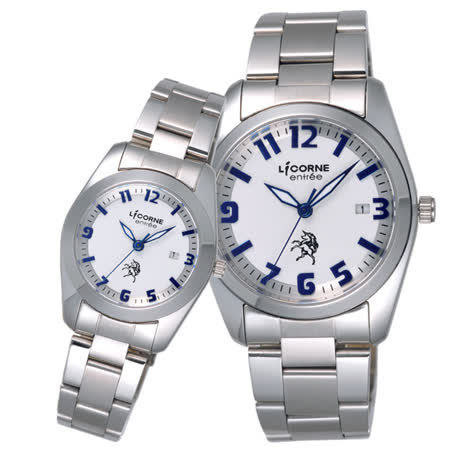 LICORNE entree  午後輕閒日期對錶-銀X藍