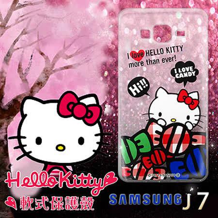 三麗鷗授權正版 Hello Kitty 凱蒂貓 Samsung Galaxy J7 透明軟式保護套 手機殼 (糖果HI)