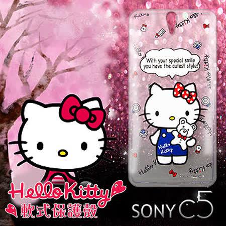 三麗鷗授權正版 Hello Kitty 凱蒂貓 SONY Xperia C5 Ultra 大大機 透明軟式保護套 手機殼 (Kitty公仔)