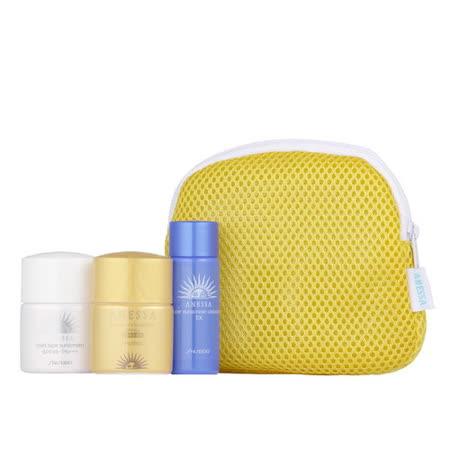 安耐曬隨身瓶 (黃金水鑽防曬露12ml、臉部溫和防曬露12ml、全能潔膚油20ml)