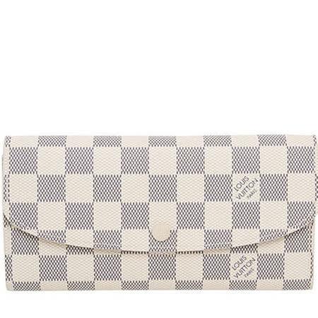 Louis Vuitton LV N63546 EMILIE 白棋盤格紋扣式零錢長夾_預購