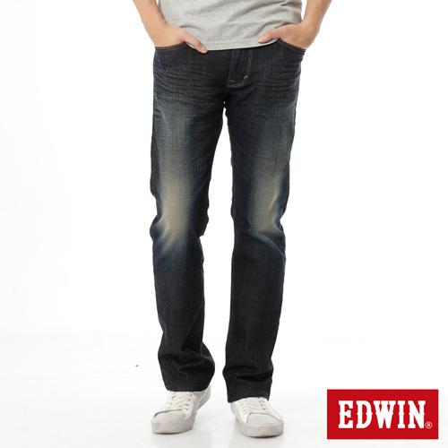 EDWIN 加大碼 EDGE雙口袋直筒牛仔褲-男-中古藍