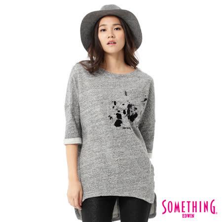 SOMETHING 植絨潑墨長版七分袖T恤-女-麻灰色
