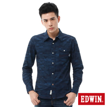 EDWIN 江戶勝迷彩長袖襯衫-男-黑藍色