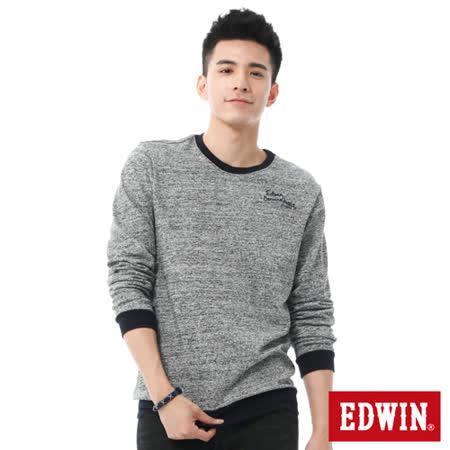 EDWIN 亂紋花紗貼布長袖T恤-男-丈青色