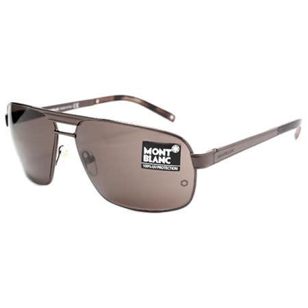 萬寶龍 MONTBLANC-時尚太陽眼鏡(銀色/咖啡色)MB322S