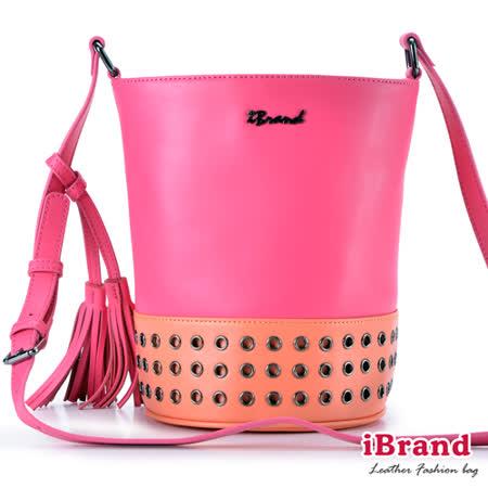 iBrand真皮-簡約時尚真皮撞色鉚釘流蘇水桶包-甜美桃