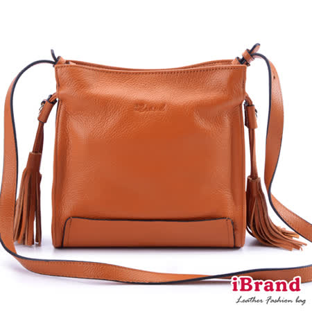 iBrand真皮-韓系風格真皮流蘇側背小方包-焦糖咖