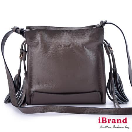 iBrand真皮-韓系風格真皮流蘇側背小方包-深邃棕
