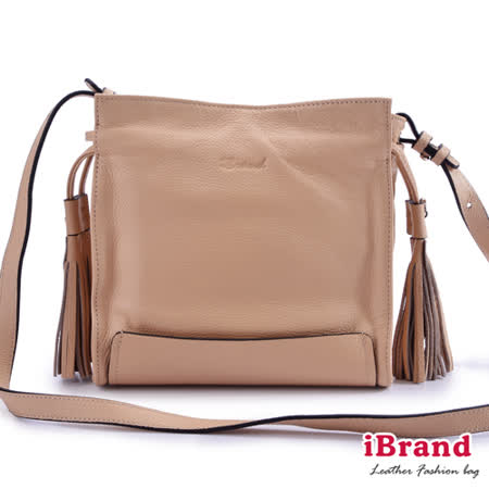 iBrand真皮-韓系風格真皮流蘇側背小方包-氣質杏