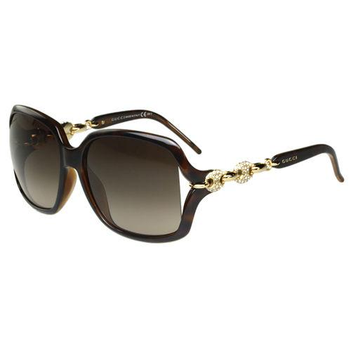 GUCCI-扣環水鑽 太陽眼鏡(琥珀色)