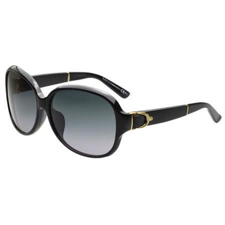 GUCCI-皮革扣環 太陽眼鏡(黑色)