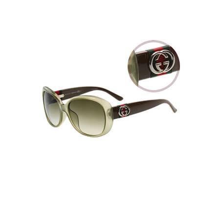 GUCCI-時尚太陽眼鏡(透明茶色)