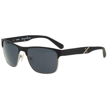 GUESS-時尚中性太陽眼鏡(黑+金色)