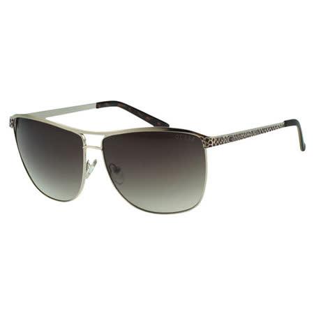 GUESS-時尚太陽眼鏡(淡金色)