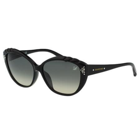 SWAROVSKI 貓眼 水鑽 太陽眼鏡(黑色)