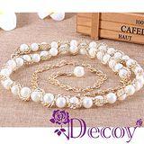 【Decoy】優雅潔白*金屬編織珍珠腰鍊