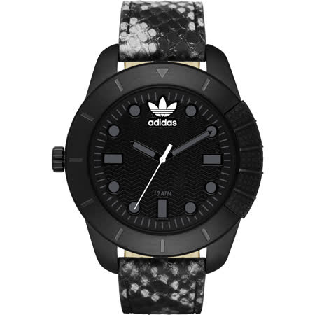 adidas Originals 左錶冠霸氣經典腕錶-黑x蛇紋/48mm ADH3043