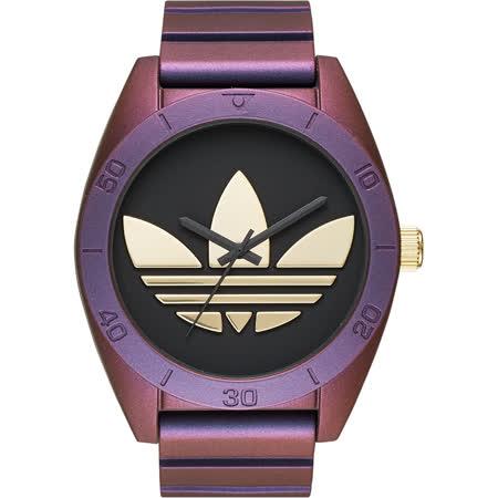 adidas 經典三葉草大三針腕錶-黑x紫/48mm ADH9079