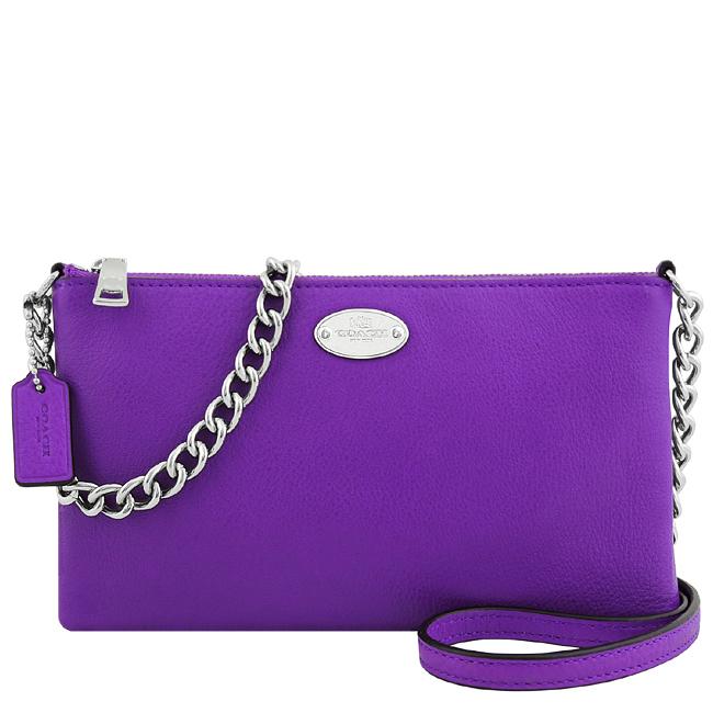 COACH 皮革壓紋鍊帶斜背包-紫色