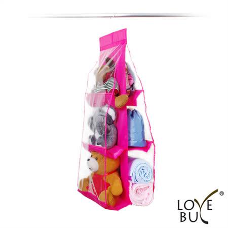 【Love Buy】大容量六格皮包收納掛袋(桃紅色)1入