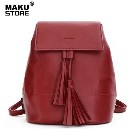【MAKU STORE】秋新款韓版學院風時尚PU流蘇後背包棗紅色