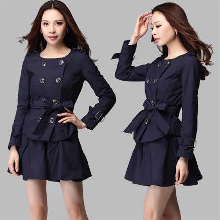 【麗質達人中大碼】3797時尚二穿風衣外套(XL-4XL)
