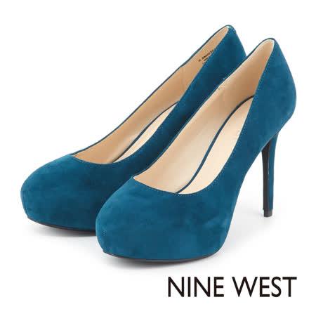 NINE WEST 時尚典雅奧黛莉風 素面高跟鞋 - 藍綠色