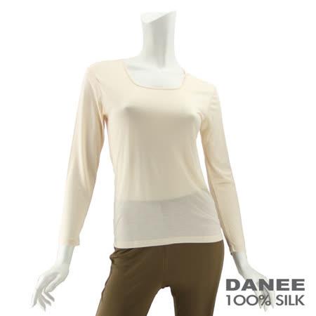 岱妮蠶絲 - (EC30402S)素面方領長袖蠶絲短纖衛生衣(膚色)
