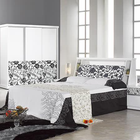 AT HOME-威爾納5尺白色被櫥雙人床(不含床墊)