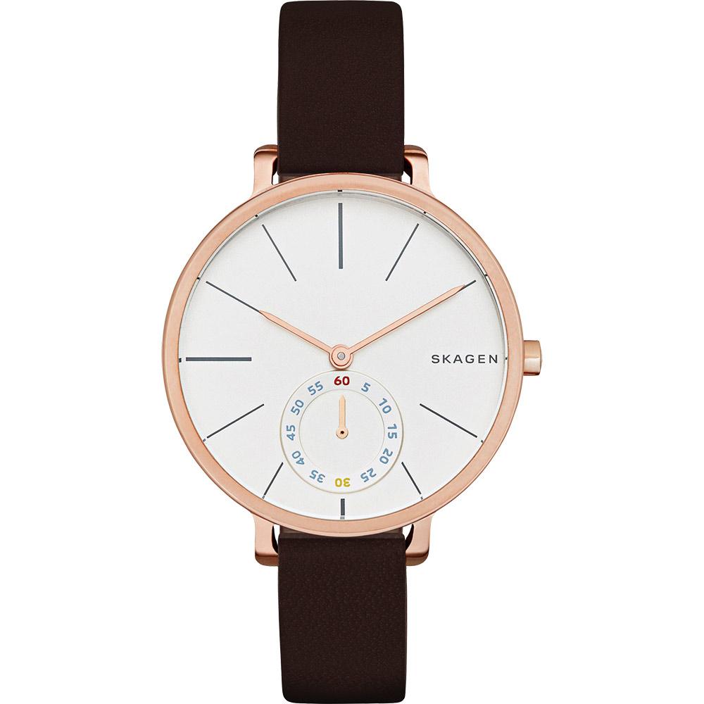 SKAGEN Hagen 小秒針腕錶~銀x玫瑰金框34mm SKW2356