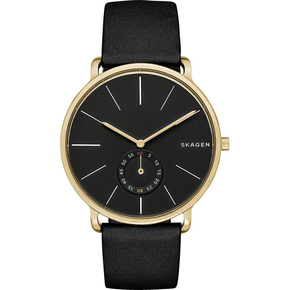 SKAGEN Hagen 小秒針腕錶-黑x金框/40mm SKW6217