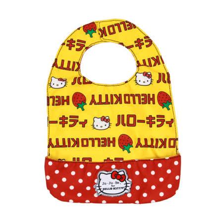 【美國Ju-Ju-Be媽咪包】HelloKitty聯名款BeNeat雙面防潑水嬰兒圍兜-Strawberry Stripes 草莓條紋