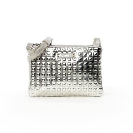 Admiral 摩登女郎金屬感可拆式斜背包-金屬銀