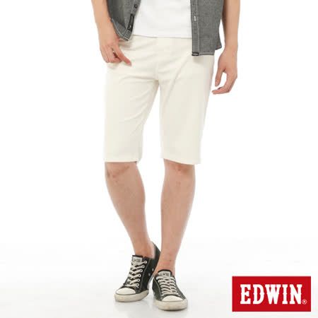 EDWIN 迦績褲JERSEYS內藏腰頭短褲-男-白色
