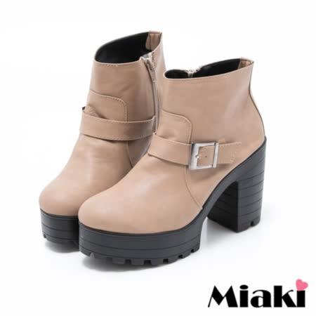 【Miaki】MIT 短靴首爾街頭厚底高跟休閒踝靴 (駝色)